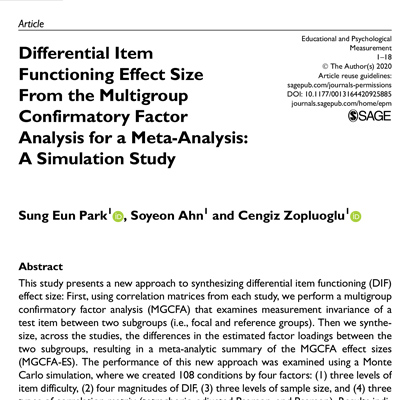 Differential Item Functioning Effect Size From the Multigroup Confirmatory Factor Analysis for a Meta-Analysis