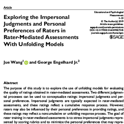 Exploring the impersonal judgements and personal preferences of raters in rater-mediated assessments with unfolding models