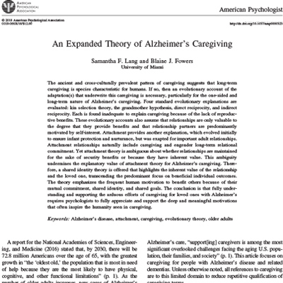 An expanded theory of alzheimer's caregiving