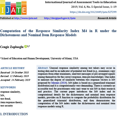Computation of the response similarity index m4 in r under the dichotomous and nominal item response models